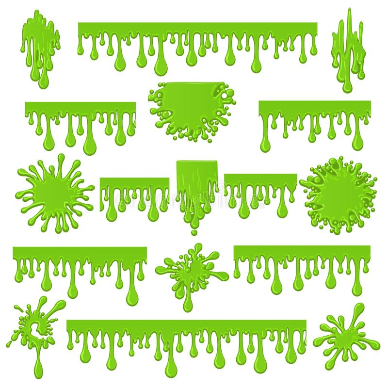 Green slime isolated on white. Green slime. Spots and streaks of goo sticky mucus vector illustration, spooky liquid mucilage paint drops isolated on white royalty free illustration