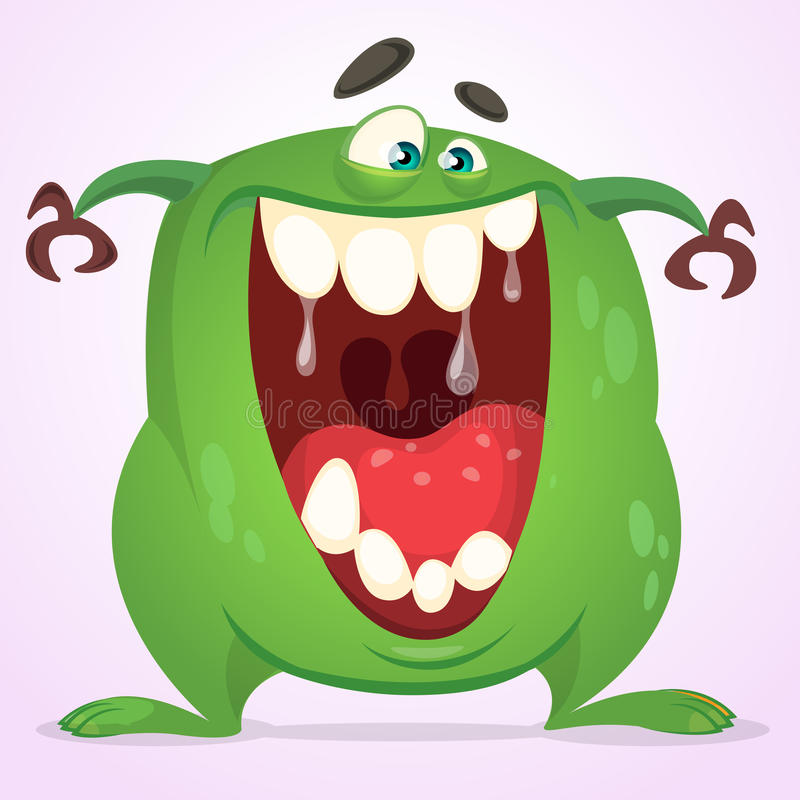 Green slimy monster with big teeth and mouth opened wide. Halloween vector monster character. Cartoon alien mascot isolated stock illustration