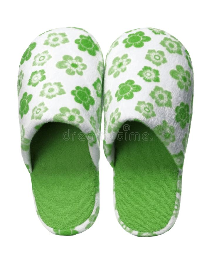 Free Green Slippers With Flower Print Isolated On White Background. Royalty Free Stock Photo - 113704065