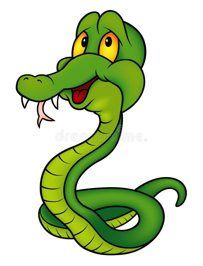 Green Smiling Snake. Colored cartoon illustration, vector