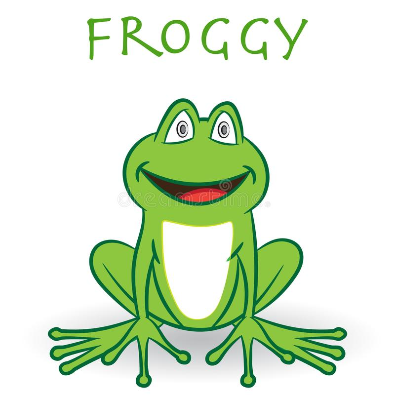 Green smily frog, isolated on white background - Cartoon Vector vector illustration