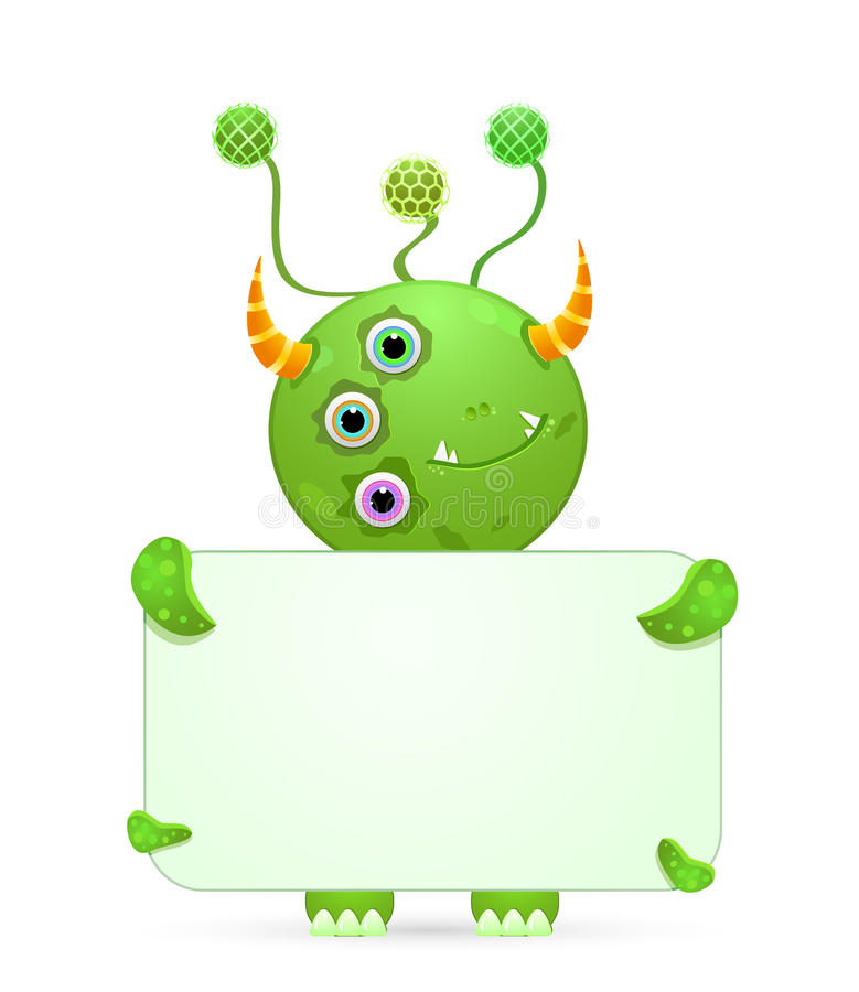 Green smily monster with empty placard stock illustration