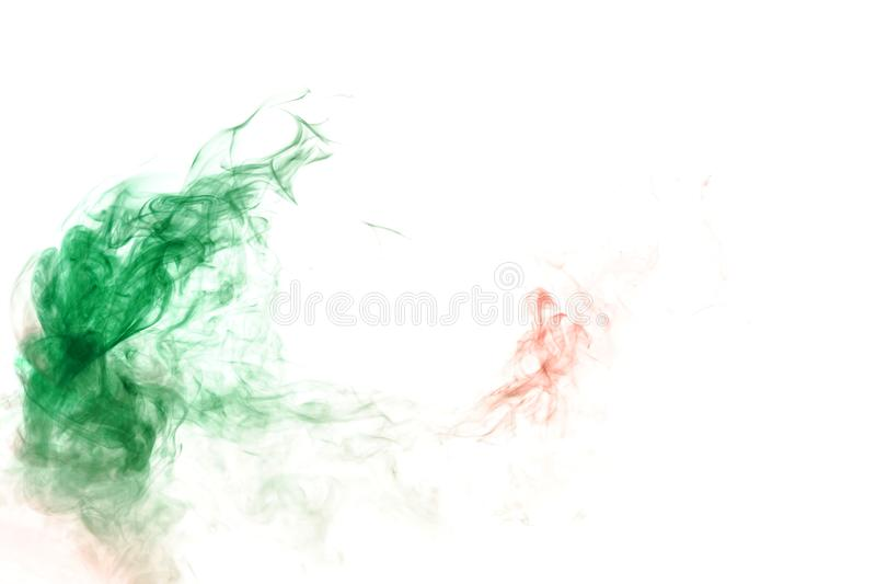 Green smoke or ink pattern on a white isolated background. Print for clothes. Disease and viruses. Wavy green smoke or ink pattern on a white isolated background stock images