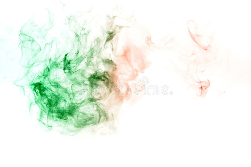Green smoke or ink pattern on a white isolated background. Print for clothes. Disease and viruses. Wavy green smoke or ink pattern on a white isolated background stock photos