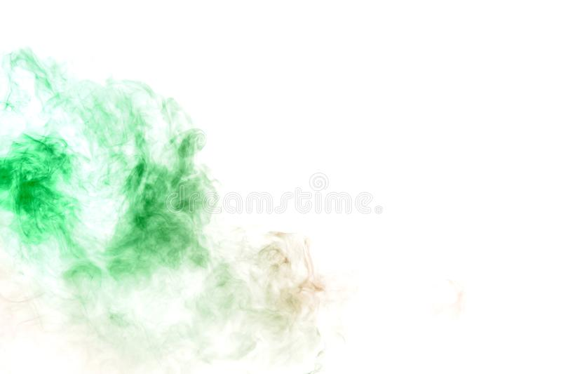 Green smoke or ink pattern on a white isolated background. Print for clothes. Disease and viruses. Wavy green smoke or ink pattern on a white isolated background royalty free stock photography