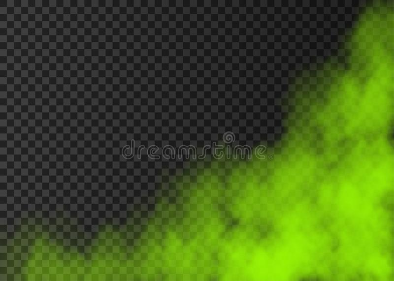 Green smoke  or fog isolated on transparent background. Green smoke  isolated on transparent background.  Steam special effect.  Realistic  colorful vector fire vector illustration