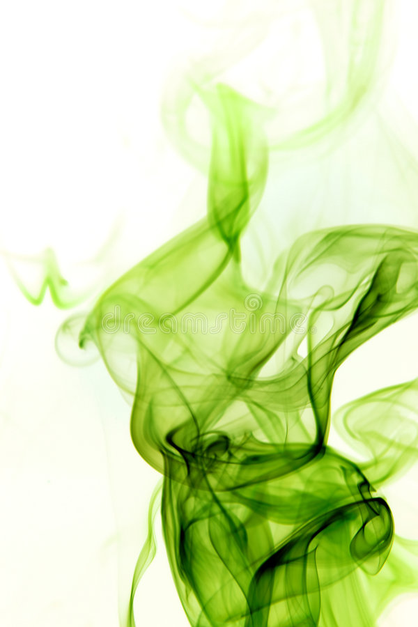 Green Smoke on White Background stock image