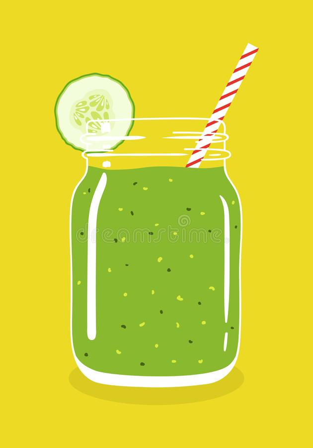 Green smoothie in mason jar with cucumber slice and swirled straw. Vector hand drawn illustration. Green smoothie in mason jar with cucumber slice and swirled stock illustration