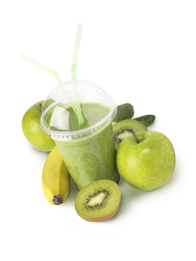 Green smoothie verticle shot royalty free stock images