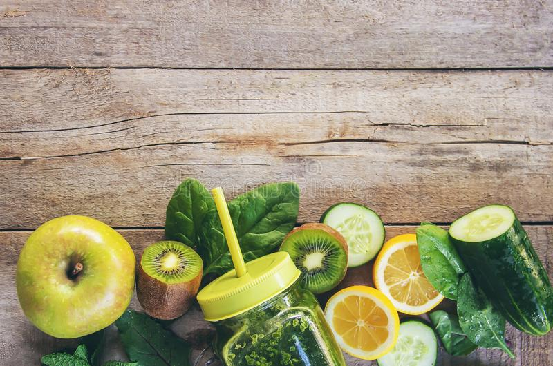 Green smoothies with vegetables and fruits. Detox Day. Slimming and excretion of slag. Healthy eating. royalty free stock photos