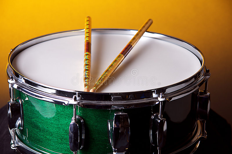 Green Snare Drum Gold Bk stock photography