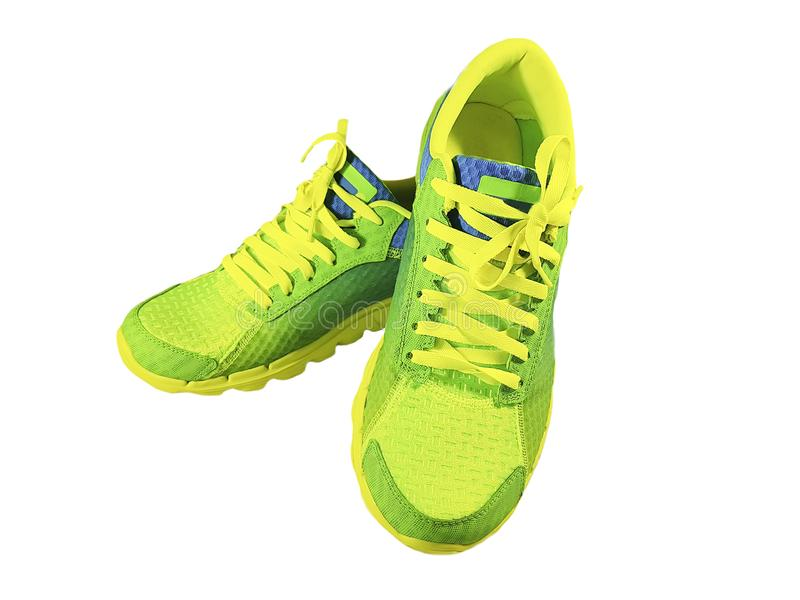 Green sneakers isolated soccer football expensive royalty free stock photos
