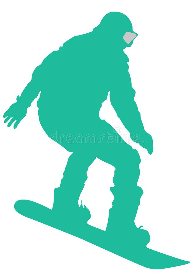 Green Snowboarder Flat Icon on White Background stock illustration