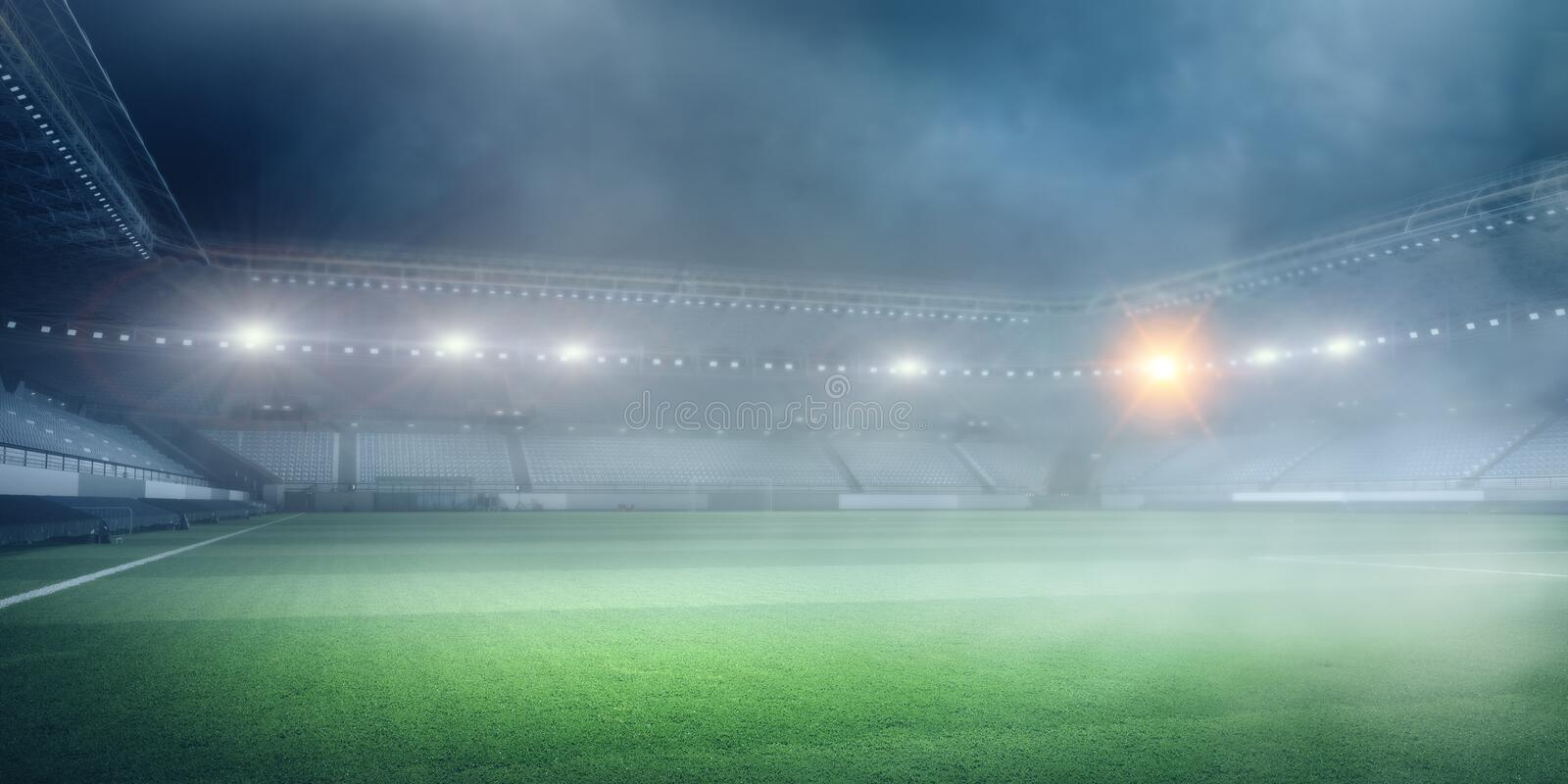 Foggy soccer field . Mixed media. Green soccer field with mist and spotlights. Mixed media royalty free stock images