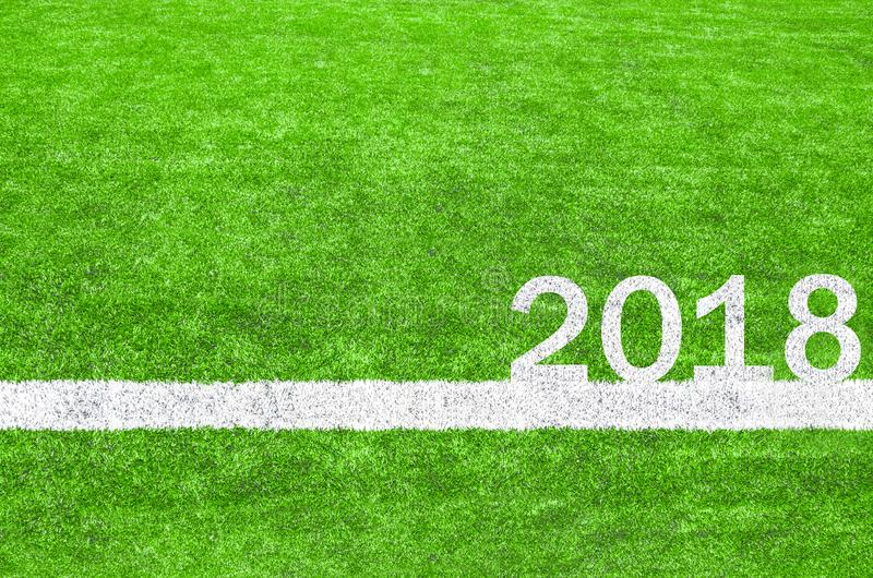 2018 on the green soccer field. royalty free stock photo