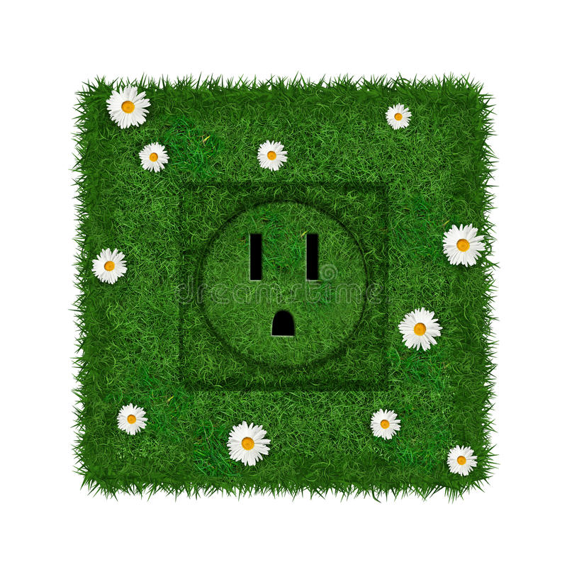 Green socket. Green US socket covered with grass and flowers stock photo