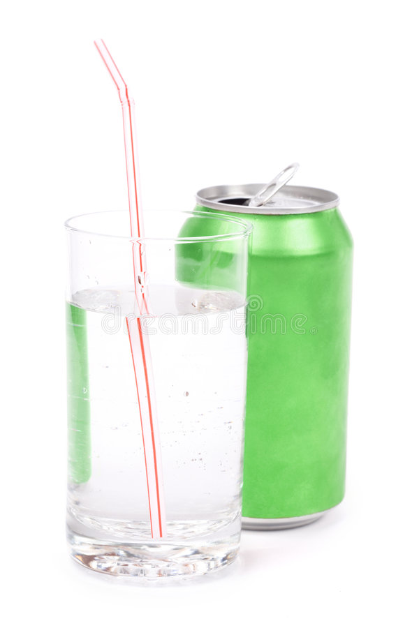 Green soda can and glass. With white background stock photos
