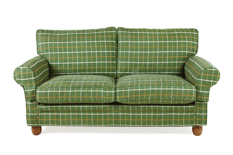 Green sofa. With white and yellow stripes stock photography