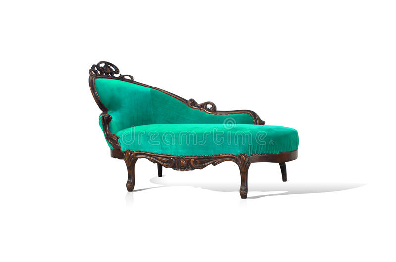 Green sofa. Vintage luxury Green sofa Armchair isolated on white background stock image