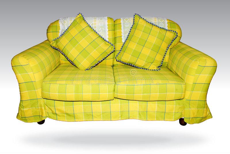 Green sofa. Focus a green sofa on the white background royalty free stock images