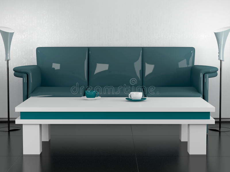 Download Green Sofa And Coffee Table In The Dining Room Stock Illustration - Image: 14850619