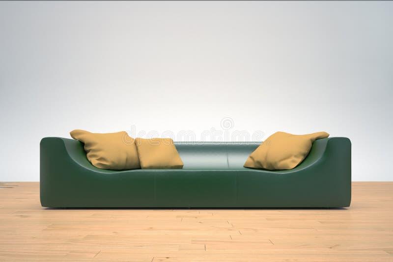 Green Sofa. On hardwood floor with yellow cushions royalty free illustration