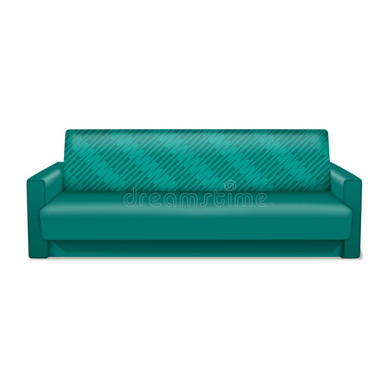 Green sofa icon, realistic style. Green sofa icon. Realistic illustration of green sofa vector icon for web design isolated on white background stock illustration