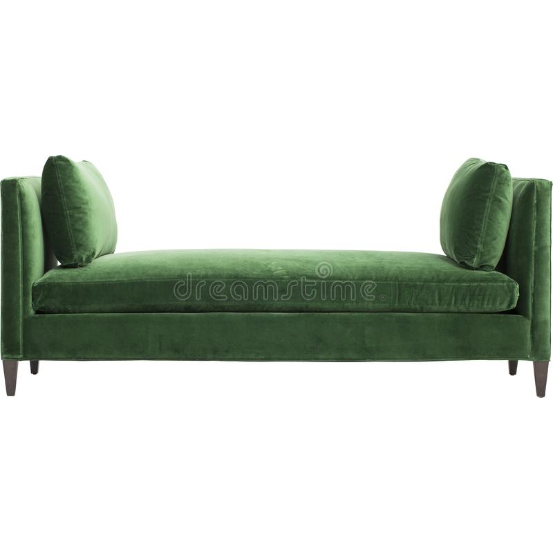 Green sofa isolated on white background. A daybed couch on a white background.  royalty free stock images
