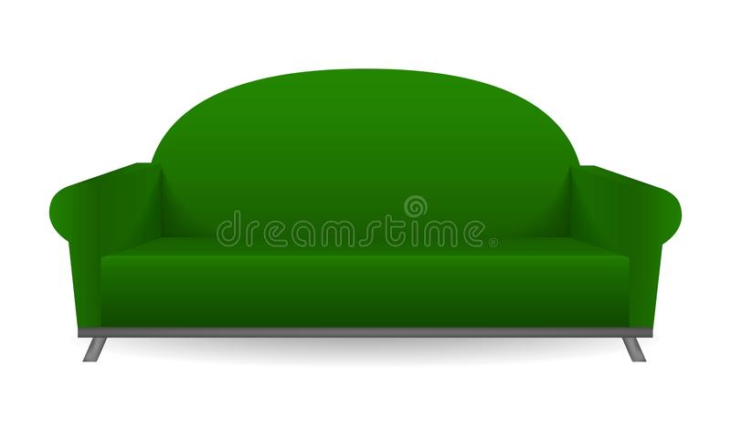 Green sofa mockup, realistic style. Green sofa mockup. Realistic illustration of green sofa vector mockup for web design isolated on white background vector illustration