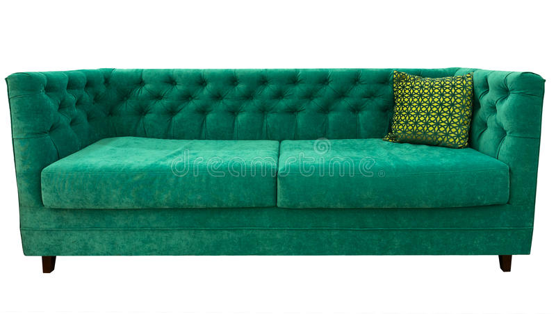 Green sofa with pillow. Soft emerald couch. Classic divan on isolated background. royalty free stock photo
