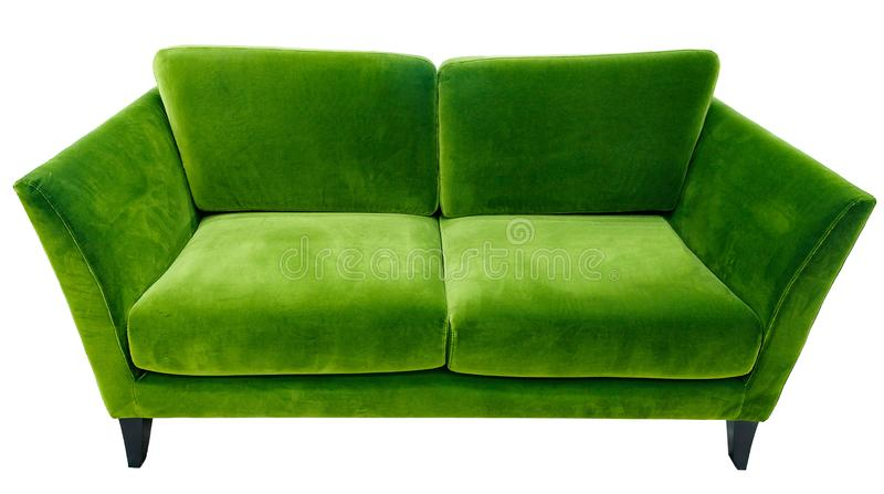 Green sofa. Soft velour fabric couch. Classic modern divan on isolated background.  stock photo