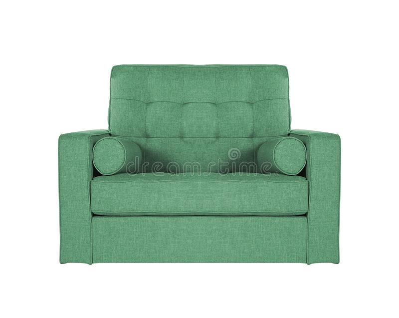 Green sofa on white. Background stock photos
