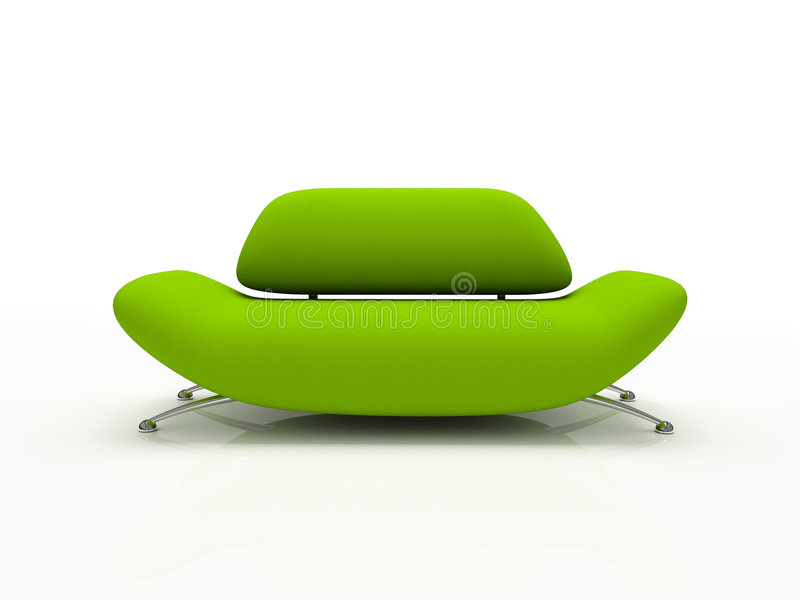Green sofa on white background insulated vector illustration