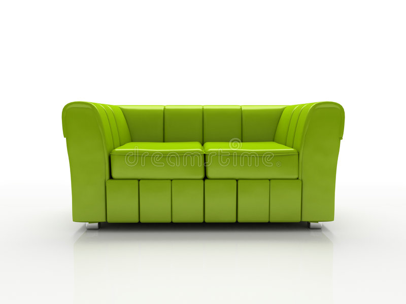 Green sofa on white background insulated 3d royalty free illustration
