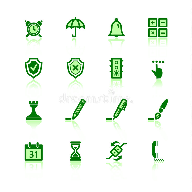 Green software icons. On the white background stock illustration
