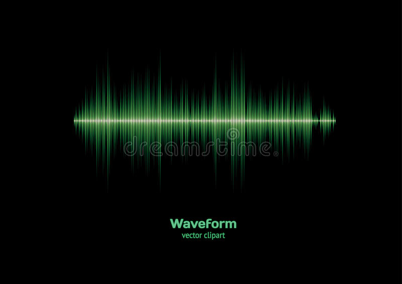 Green waveform. Green sound or music waveform with sharp peaks stock illustration