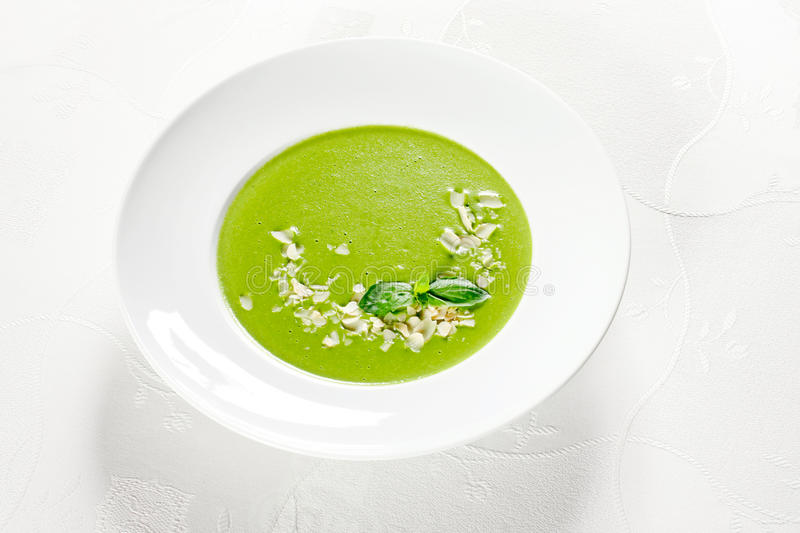 Download Green soup stock photo. Image of plate, leaf, soup, white - 9624078