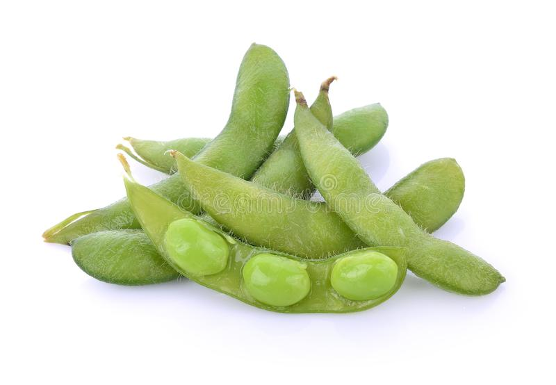 Green soybeans on white background royalty free stock image