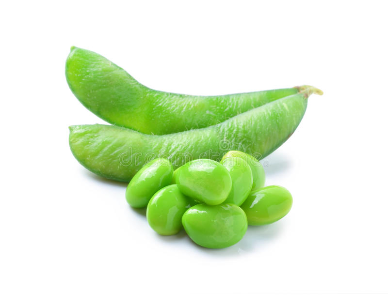 Green soybeans on white background stock photos