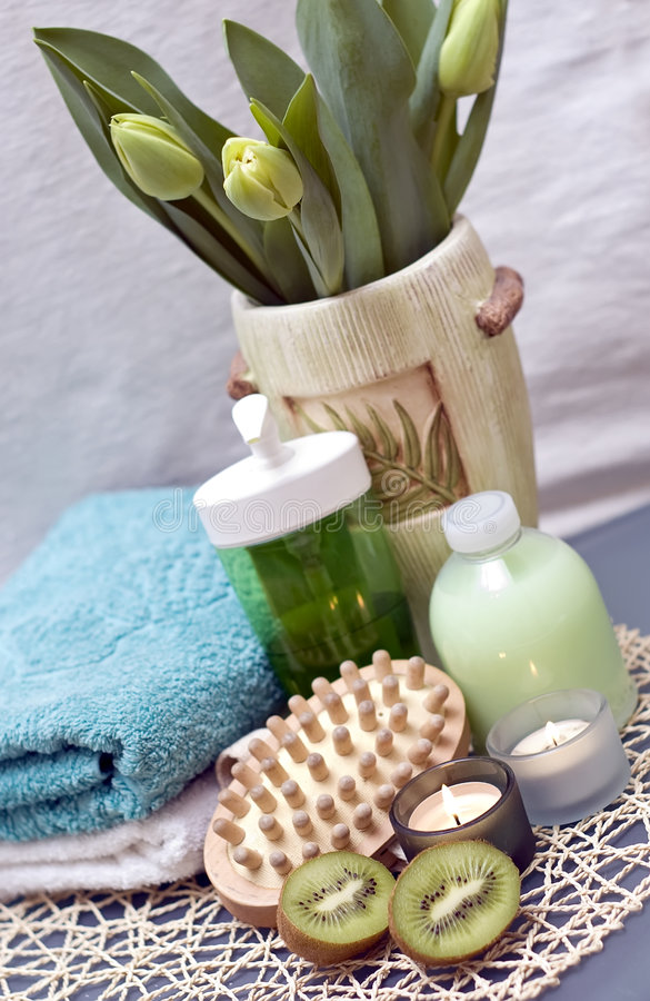 Download Green spa stock photo. Image of bottles, candles, fruit - 4393116