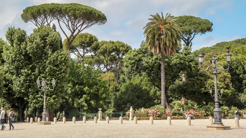 Villa Borghese Gardens at Roma. A green space to escape Roma traffic and wait for Villa Borghese visit stock photography