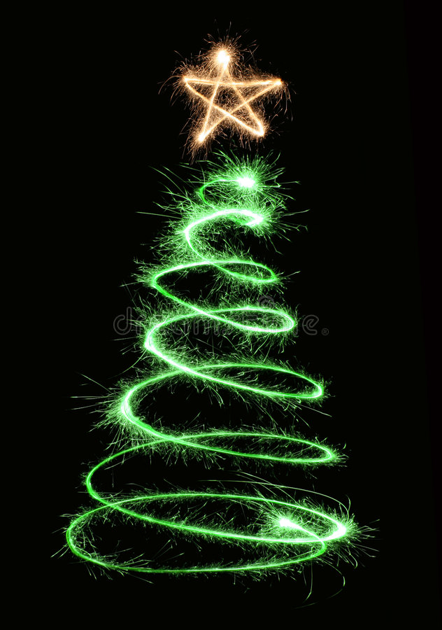 Green sparkler christmas tree stock photo
