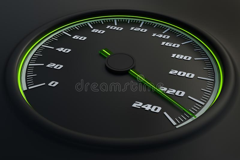 Green speedometer in car on dashboard. royalty free illustration