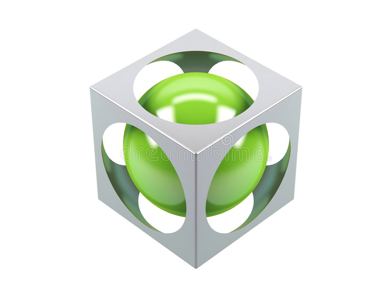 Green sphere. Which is located in a cube with apertures royalty free illustration