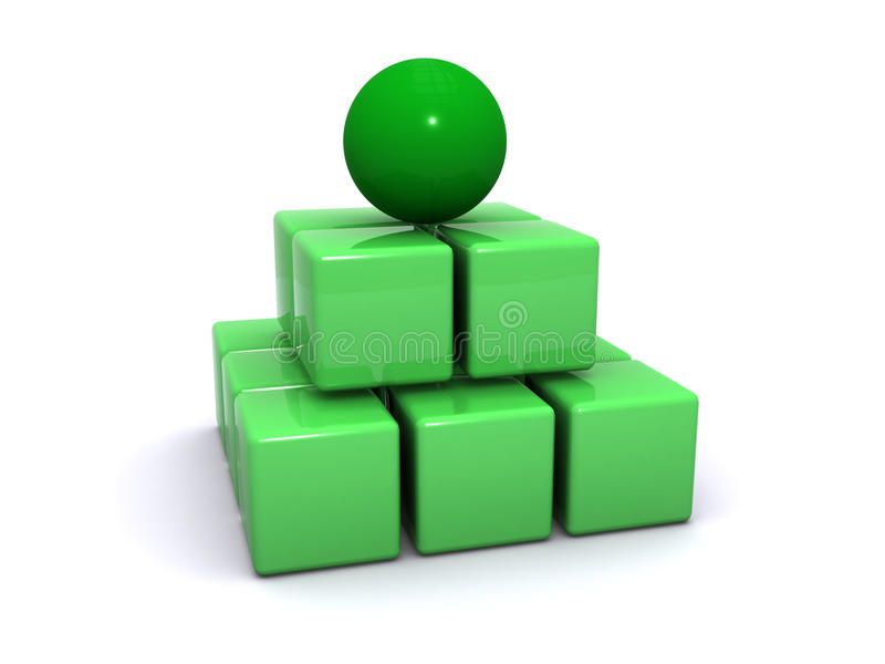 Green sphere on cubes vector illustration
