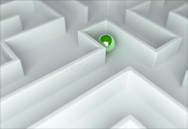 Green sphere in a maze stock photo