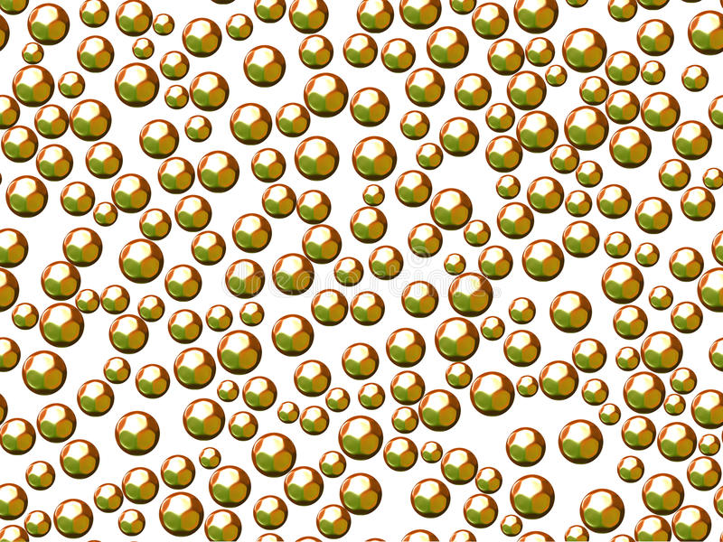 Green spheres or bubbles on white background stock images