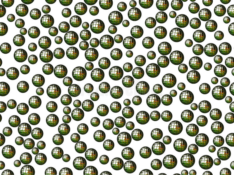 Green spheres with squares on white background stock images