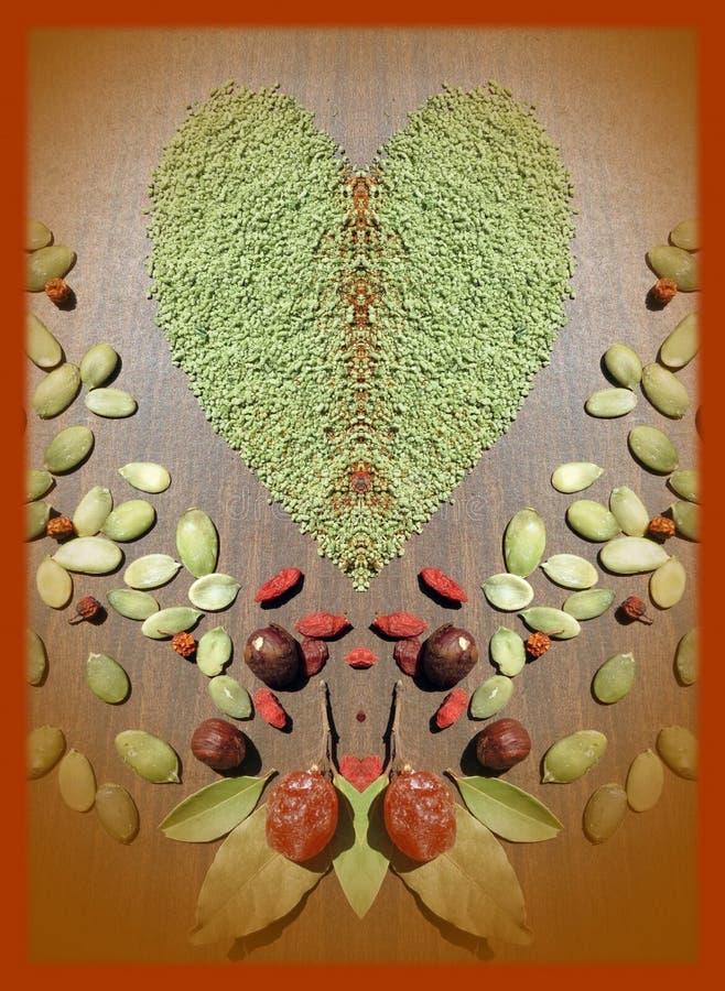 Green spice heart royalty free stock photo