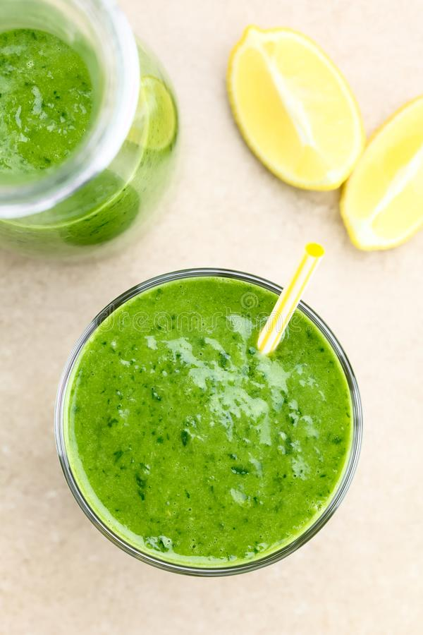 Green Spinach Cucumber and Avocado Smoothie royalty free stock photography
